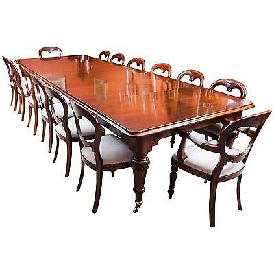 """Antique 13ft 6"""" Victorian Dining Table c.1850 & 14 Chairs"""
