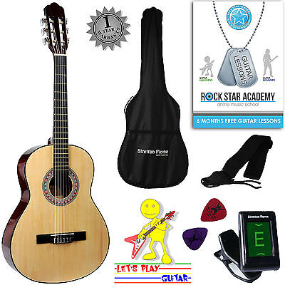 3/4 Size Nylon String Classical Child Kids Childrens Guitar Package Natural
