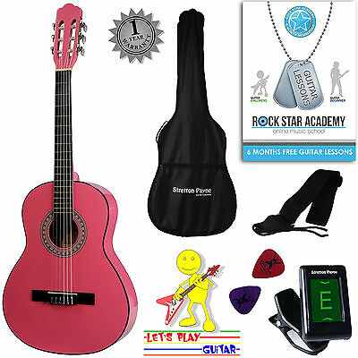 LEFT HAND 3/4 Size Nylon String Classical Kids Childrens Guitar Package Pink