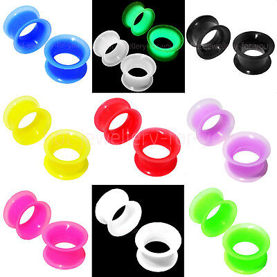 2 x FLESH TUNNEL SILICONE DOUBLE FLARED THIN SOFT EAR PLUG DEFENDER EXPANDER