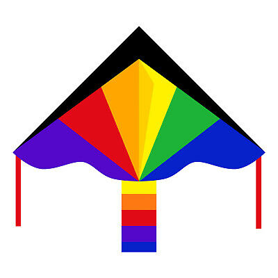 HQ Simple Flyer Childrens Kite Rainbow 120cm Easy to Fly Single Line Fun Kids To