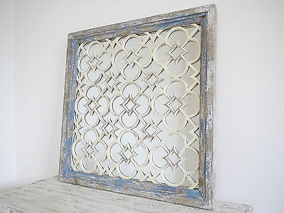 Large Wooden Square Rustic Style Distressed/Shabby Mirror White/Blue