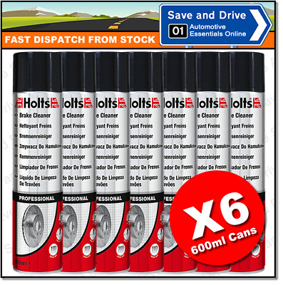6 x Holts Professional Brake Clutch & Parts Cleaner Degreaser 600ml 100% Solvent