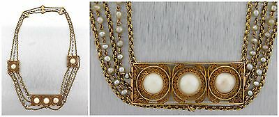 Antique Victorian 18K Yellow Gold Seed Pearl Chain Link Filigree Necklace