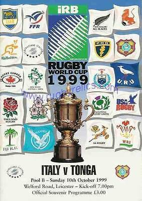 Italy v Tonga RUGBY WORLD CUP 1999 PROGRAMME