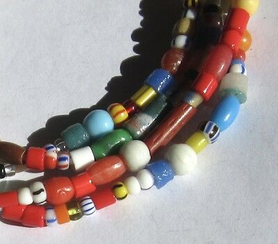 """38"""" Strands Of Tiny/small Mixed """"christmas Beads"""" African Trade"""