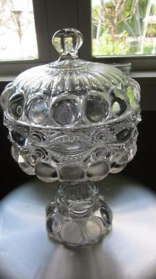 1800's Antique Pressed Bubble Glass Covered Compote Candy Dish Bowl Footed