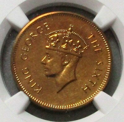 1951 Ceylon 50 Cents Restrike Ngc Proof 64