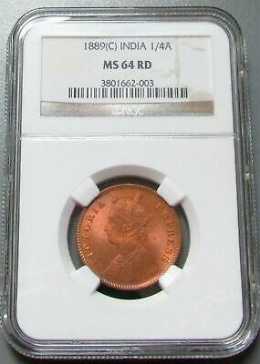 1889 C India 1/4 Anna Ngc Mint State 64 Red