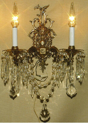 PR Vintage Gilt Bronze Brass Crystal lamp Sconce ROCOCO Inspired wall chandelier