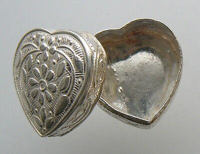 Vintage Silver 950 Heart Shape Pill Box