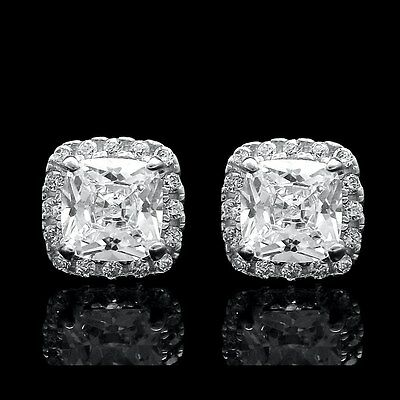 2CT Cushion & Round Cut Created Diamond Stud Square Earrings 14k White Gold