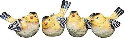 Set of 4 Yellow & Black Resin Bird Figrines--Each has a Slightly Different Pose
