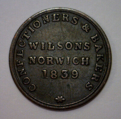 1839 Wilsons Confectioners & Bakers Norwich Britain Token with Lion & Castle