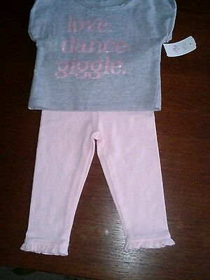 Baby girl two piece outfit 12 month new gray short sleeved and pink leggings