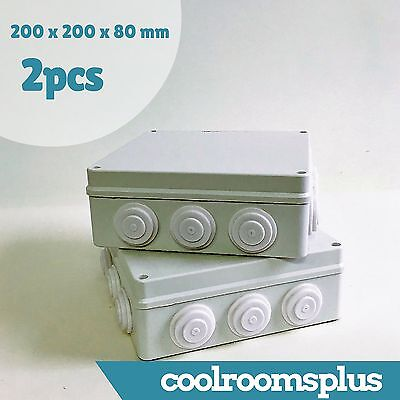 2 x Junction Box Waterproof Plastic Box Enclosure 12 cable entry 200x200x80mm