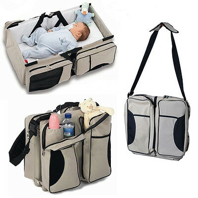 Muli-Purpose 3 in 1 Diaper Bag Travel Bassinet Change Station Baby Tote Bag Bed