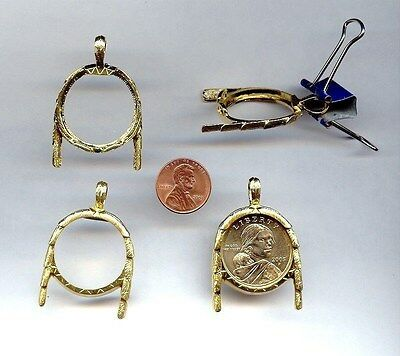 Gold Plated Sacagawea Native American Dollar Coin Holder Necklace Pendant   X326