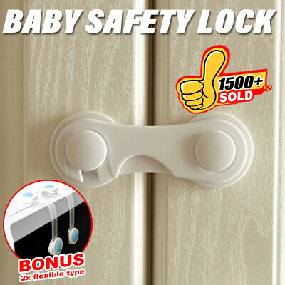 10X Premium Child Kid Baby Safety Lock For Door Drawer Cupboard Cabinet Adhesive