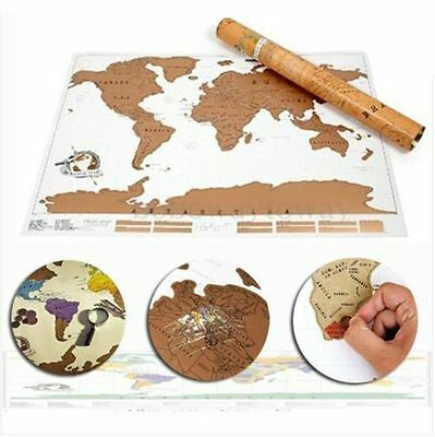 Large Size Scratch Off World Map Where You Travel Poster Layer Off Vacation Log