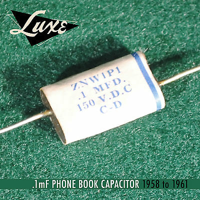 1958-61 Luxe Wax-Impregnated Strat/P-Bass .1mF Phone Book Capacitor Vintage Spec