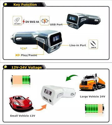 New 2.1A USB Car MP3 FM Transmitter Car Charger w/ 3.5mm AUX Input LCD Display
