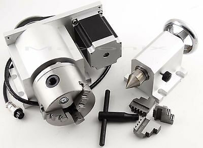 CNC 4th A Axis,4-Jaw 80mm Chuck TORNO FRESADORA Rotational Axis +Tailstock