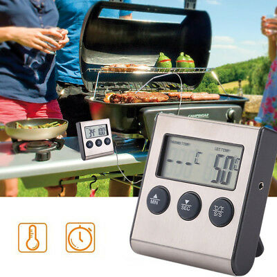 BBQ Grill Thermometer Bratenthermometer mit Edelstahl Probe Grillthermomete