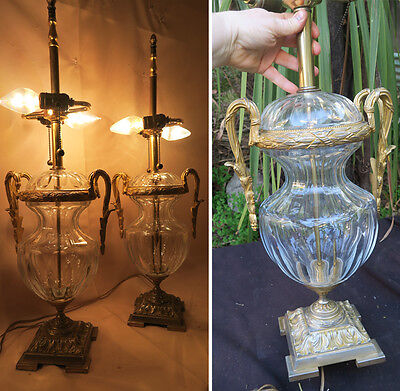 2 Baccarat Cut Crystal SIGNED Table Lamps gilt Bronze Empire French Glass Brass