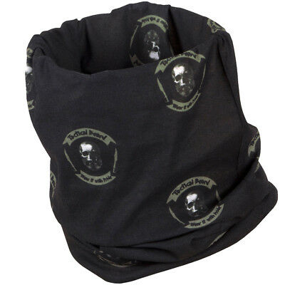 Pentagon Tactical Beard Neck Gaiter Skull Pattern Snood Army Morale Scarf Black