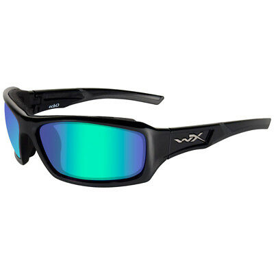 Wiley X Wx Echo Glasses Impact Polarised Emerald Mirror Lens Gloss Black Frame