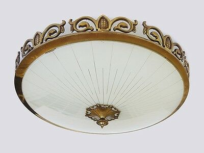 Large KAISER Brass & Glass flushmount ART NOUVEAU Ceiling Lamp Germany, 1930's