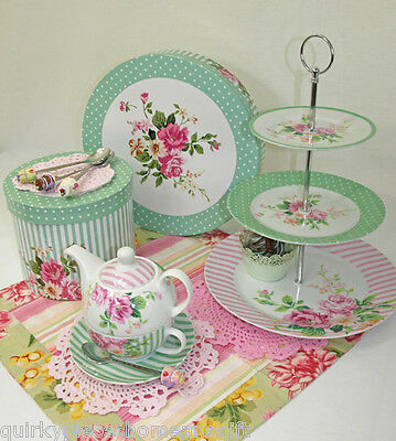 Cup Cake Stand & Tea For One Set Porcelain Floral Cake Stand & Tea Pot For One