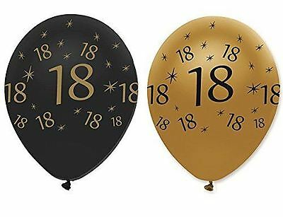 "Black Gold Pack of 6 12"" Birthday Age 18 Latex Balloons 18th Party Decoration"