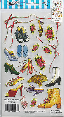 Boots/roses/ribbons Royal & Langnickel ' Shoes' Rub-On Transfers. Vintage/modern