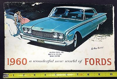 1960 Ford Motors Fold Out Booklet/poster Ford Dealer Car Specifications Mra5