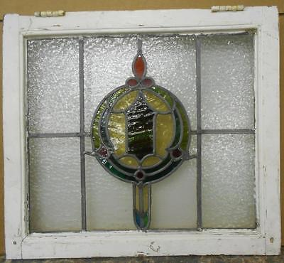 """MID SIZED OLD ENGLISH LEADED STAINED GLASS WINDOW Sheild in a Wreath 23.5"""" x 21"""""""