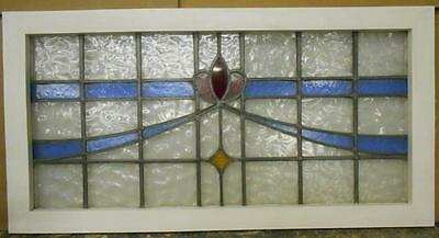"LARGE OLD ENGLISH LEADED STAINED GLASS WINDOW Stunning Swag Design 37"" x 19.25"""