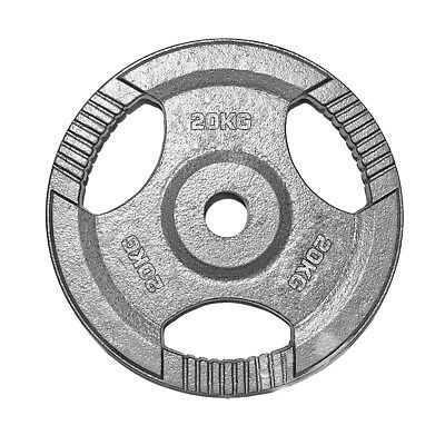 """1"""" TRI-GRIP Cast Iron Disc Weights Plate Curl Barbell Weight Fitness Gym 20KG"""