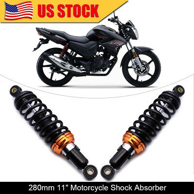 """2x Black Motorcycle 11"""" 280mm Rear Shock Absorber Suspension Round For Honda"""
