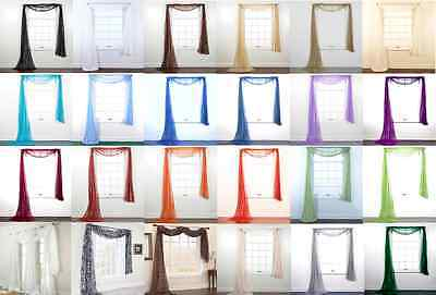 Hotel High Quality Valance Window Scarf Swag Voile Sheer Elegant Topper 216