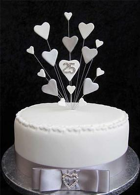 25th SILVER WEDDING ANNIVERSARY/BIRTHDAY CAKE TOPPER SUITABLE FOR A 20cm cake