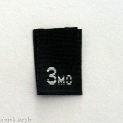 5bdf8ec87e19 SIZE 2T TWO Toddler in BLACK-Qty 100- clothing woven labels tags tab ...