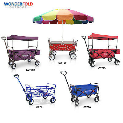 WonderFold Outdoor High End Folding Wagon Canopy Camping Utility Cart Seat Brake