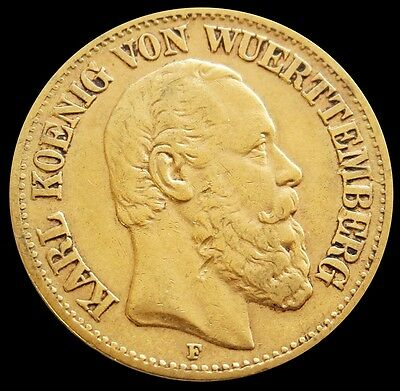 1875 F Gold German State Wurttemberg 10 Mark Coin Extremely Fine Condition