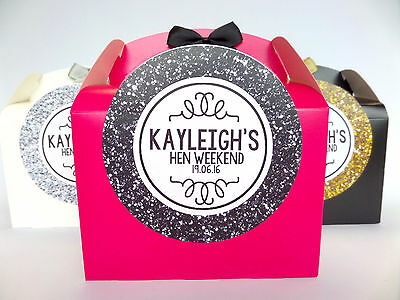 Hen Party Bag *filled*  Glitter Effect Personalised Gift Box Favour Accessories