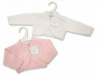 Baby Girls Pretty Bolero Cardigan Cardi Shrug Wrap Pink/White 0 - 23 months