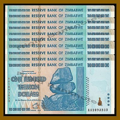 10 Pcs X Zimbabwe 100 Trillion Dollars, AA 2008 ( 1/10 Bundle) Circulated