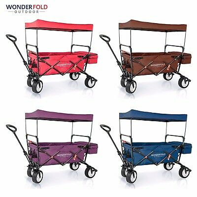 Next Generation WonderFold Outdoor Folding Wagon w/ Canopy & Optional Wagon Seat