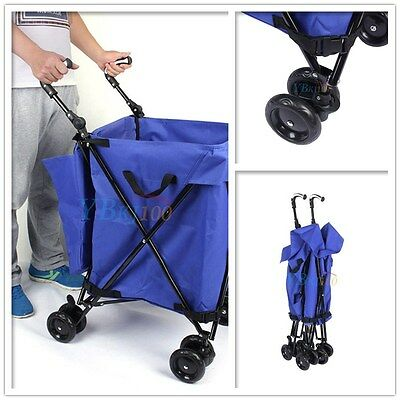 Foldable Shopping Cart Trolley Grocery Steel Bag Folding Wheels Luggage Basket